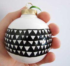 paint marker (DecoColor Opaque Paint Marker- fine line in black) on porcelain ornament