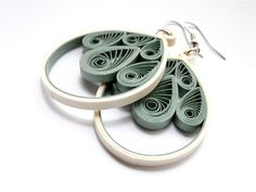 Olive Green Filigree Dangle Earrings / by SimplyQuilledDesigns