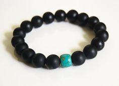 Mens Bracelets - Mens Jewelry - Mens Matte Black Onyx and turquoise Bracelets- Beaded bracelet- Unisex bracelet-Mens accessories.
