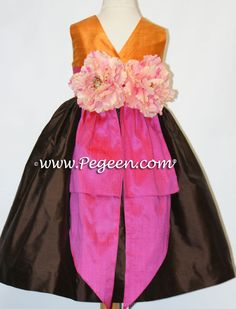 Shock Pink, Tangerine and Semi-Sweet Chocolate Flower Girl Dresses with Flowered Bustle Style 383 By Pegeen by Pegeen