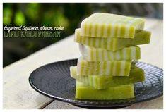 Indonesian Medan Food: Kue Lapis Kanji Pandan ( Layered Tapioca Steam Cak...