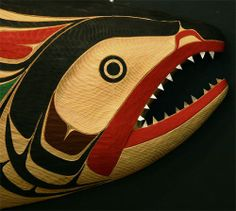 salmon northwest coast - the salmon was an important source of food and honored for this. Arte Inuit, Inuit Art, American Indian Art, Native American Art, Native Indian, Native Art, Native American Pictures, Haida Art, Tlingit