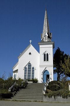 """Lovely old church in Mendocino, California. If you have ever seen the film """"The Russians Are Coming, The Russians Are Coming"""" this is the church where the little boy ( Johnny Whitaker) got caught on the steeple."""