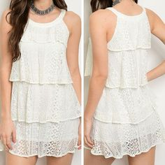 """""""I Feel It Coming"""" Dress - Sleeveless dress featuring lace tiers. 65% Cotton, 35% Polyester fabric. - $30.00"""