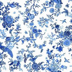 MAKOWER ORIENTAL- Blue - Birds by AndSewForthHowden on Etsy