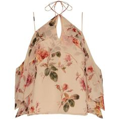 Exclusive for Intermix Ally Printed Floral Cami ($245) ❤ liked on Polyvore featuring tops, crop top, shirts, halter neck crop top, beige crop top, floral shirt, sleeveless tops and cold shoulder tops