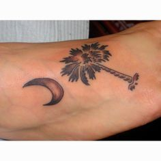 Palmetto and crescent moon tattoo would want it smaller for Palmetto tree and moon tattoo