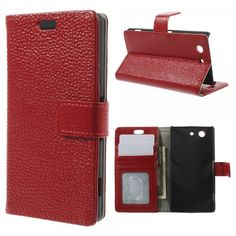 Peapod® Genuine Cowhide Leather Wallet Stand Flip Case for Sony Xperia Z3 Compact - Red