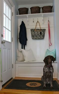 "What about a mini mud room on a front porch?Previous pinner ""This Old House - mini mud room. Would be even better if the bench opened up for shoe storage"" This Old House, Home Renovation, Home Remodeling, Sas Entree, Hallway Bench, Coat Hooks Hallway, Hallway Ideas, Shelf Hooks, Entrance Ideas"