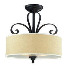 Z-Lite Charleston 3 Light Semi-Flush Mount Shade Color: Creme Semi Flush Lighting, Semi Flush Ceiling Lights, Flush Mount Ceiling, Ceiling Light Fixtures, Living Room Lighting, Home Lighting, Interior Lighting, Lighting Ideas, Outdoor Lighting