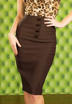 Broad Minded Clothing - High Waisted Pin Up Girl Style Pencil Skirt with Button Front in Brown $49.00