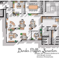 The Office US TV Show Office Floor Plan- Dunder Mifflin Scranton Office Layout - Gift for the Office TV show fan - The Office Poster - Office - The Office US TV Show Office Plattegrond Dunder Mifflin Office Layout Plan, Office Floor Plan, Floor Plan Layout, Office Space Planning, Office Space Design, Office Interior Design, Office Interiors, The Plan, How To Plan