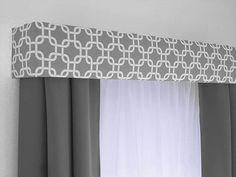 Gray Geometric Cornice Board Valance Window Treatment - Custom Curtain Topper in Modern Grey and White Fabric