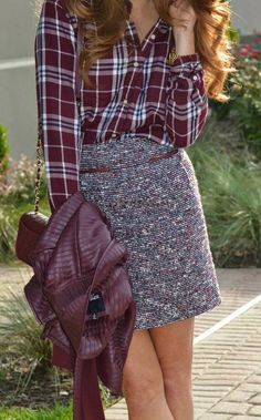 #fall #fashion / plaid shirt + tweed skirt
