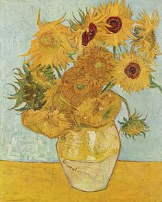 Sunflowers on Blue, 1888 Artist: Vincent Van Gogh. Vincent Willem van Gogh was a Dutch post-Impressionist painter whose work, notable for its rough beauty, emotional honesty and bold color. Art Van, Van Gogh Art, Vase With Twelve Sunflowers, Van Gogh Sunflowers, Flores Van Gogh, Canvas Poster, Canvas Art, Painting Canvas, Monet Giverny