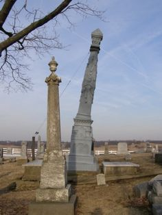 Leaning Tower of zinc ,obelisk , Mount Tabor Cemetery West Liberty, Ohio Cemetery Statues, Cemetery Headstones, Old Cemeteries, Cemetery Art, Gardens Of Stone, West Liberty, Obelisks, Post Mortem Photography, Grave Markers