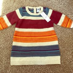 NWT! Sweater dress NWT!! Size 0-3 months striped sweater dress. 100% cotton. Adorable with tights and boots!! Old Navy Dresses