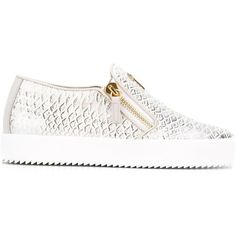 Giuseppe Zanotti Design Eve python effect sneakers (2,530 SAR) ❤ liked on Polyvore featuring shoes, sneakers, white, white slip on shoes, white leather sneakers, leather slip on shoes, slip on sneakers and white sneakers