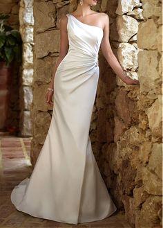 GRACEFUL STRETCH SATIN SHEATH ONE SHOULDER NECKLINE ASYMMETRICAL WAIST BEADED APPLIQUES WEDDING DRESS