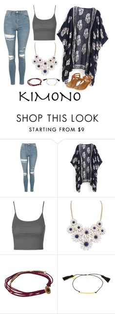 """""""Untitled #136"""" by paigeromano ❤ liked on Polyvore featuring Topshop, Eye of the Sea, Gorjana and kimonos"""
