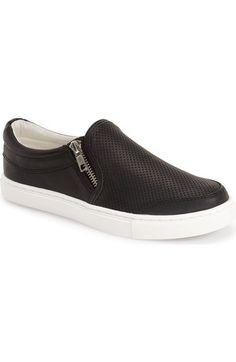 Steve Madden 'Ellias' Per Dual Zip Slip-On Sneaker synthetic black, rose gold sz7.5 69.95 4/16