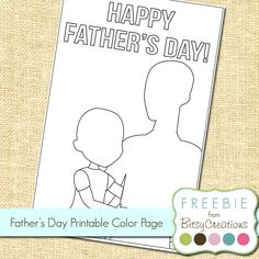Free printable for Father's Day from BitsyCreations--let your children color their own card