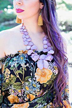 For Love & Lemons Luciana Print Dress, BaubleBar Seaglass Bib necklace, Molly Phillips tassel earrings