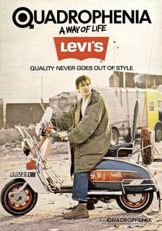 Phil Daniel's mod Jimmy Cooper inexplicably advertising denim from 1965 in a still from the film Quadrophenia, United Kingdom, 1979, by Levi's.