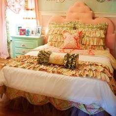 Addie Bedding Collection : Bedding For Girls at PoshTots. Love the fun colors, textures, and mixed patterns.