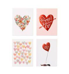 Valentine's Set of 8 Folded Cards, 2 of Each Design
