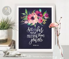 Welcome to ArtCult, printable wall art designs. She is far more precious than jewels, Proverbs - Printable artwork - Printable artwork. Printable Bible Verses, Scripture Art, Printable Wall Art, Mothers Day Drawings, Christian Facebook Cover, Art Journal Pages, Journal Covers, Watercolor Quote, Wall Art Designs