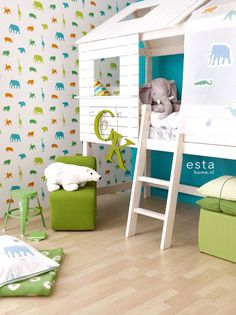 One of the best catalog of modern children's wallpaper or nursery wallpaper with latest trends on how to choose ideal design and themes of children's wallpaper for your kids bedroom Nursery Wallpaper, Kids Wallpaper, Kindergarten Wallpaper, Cool Kids Rooms, Bedding Inspiration, Pretty Bedroom, House Beds, Cool Beds, Room Themes