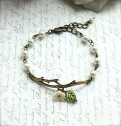 Forest Twig Ivory Flower Pearl Bracelet. Adjustable by Marolsha