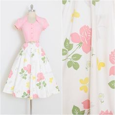 ➳ vintage dress * fabulous design by Doris Dodson * novelty print on cotton * butterflies, dragonflies, roses * button front bodice * a-line skirt * belt shown is not included Pretty Outfits, Pretty Dresses, Beautiful Outfits, Cute Outfits, 1940s Fashion, Look Fashion, Vintage Fashion, Fashion Design, 1940s Dresses