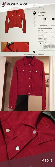 J Brand Denim Jacket Red, S, made in the USA, 94% Cotton/5% Polyester/1% Spandex, stretchy, worn slightly in great condition J Brand Jackets & Coats Jean Jackets