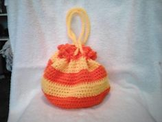 Summer Sun Crocheted Drawstring Purse by JenniferPurses on Etsy, $25.00
