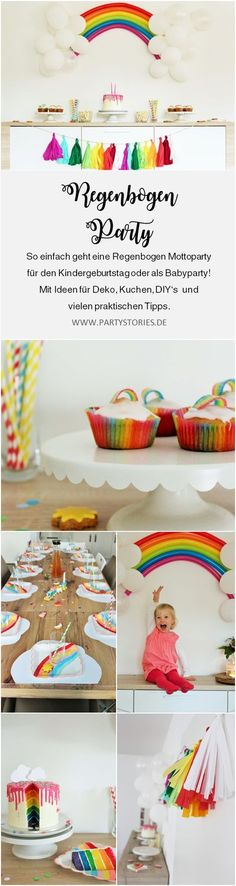 Regenbogen Party – So einfach feierst Du eine Regenbogen Mottoparty als Kinderge… Rainbow Party – It's So Easy To Celebrate A Rainbow Theme Party For Kids Birthday Or Baby Shower, With Ideas For Rainbow Decor, Cake, DIY's And Many Tips Rainbow Parties, Rainbow Theme, Rainbow Birthday, Girl Birthday, Birthday Cakes, Diy Ballon, Rainbow Photography, Rainbow Decorations, Diy Photo Booth