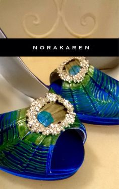 Bride Peacock feather shoes feather heels sapphire by norakaren