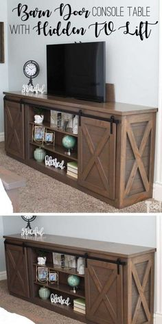 Build a sliding barn door console table with X detail. This console table has a secret, a hidden TV lift. Perfect for when you don't want the TV on display. Barn Door Console, Console Table, Diy Furniture Projects, Diy Projects, Circular Saw Table, Hidden Tv, Cabinet Fronts, Pinterest Home, Plywood Sheets