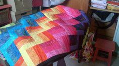 Pie de cama en patchwork hecho por mi mamá