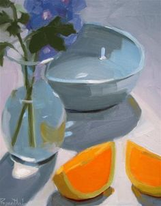 """Daily Paintworks - """"Blue Bowl and Flower"""" - Original Fine Art for Sale - © Robin Rosenthal"""