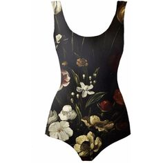 DUE Fashion - Spring Flowers One-Piece Swimsuit ($79) ❤ liked on Polyvore featuring swimwear, one-piece swimsuits, flower bathing suit, flower swimsuit, one piece bathing suits, 1 piece bathing suits and scoop neck bathing suit