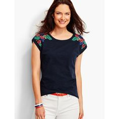 Talbots Women's Embroidered Tropical Flowers Tee ($45) ❤ liked on Polyvore featuring tops, t-shirts, indigo blue, plus size, petite tee, flower t shirt, petite t shirts, embroidered t shirts and boat neck t shirt