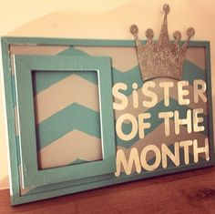 #Sorority #SororityHouse #Greek #College  Love this idea! Choose a sister of the month to recognize someone who has gone above and beyond in the chapter. Plus it is a great excuse to make an adorable frame like this one!