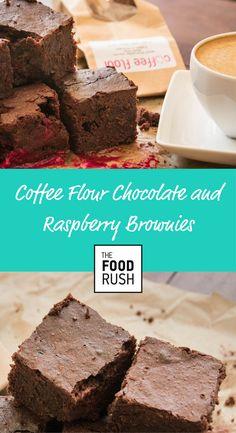 Coffee Flour Chocolate and Raspberry Brownies