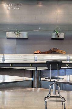 Spelling It Out: Luce et Studio Converts A Warehouse Into A Creative LA Office | Hot-rolled steel clad the kitchen niche. #design #interiordesign #interiordesignmagazine #office #furniture #decor