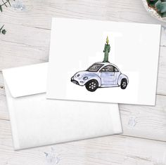 This hand-drawn VW beetle birthday card is part of a variety pack of notecards we sell. If you'd rather a full pack of just this card, we are happy to do that at no extra charge! Want personalization? We can do that too for a small charge! Custom Stationery, Personalized Stationery, Personalized Note Cards, My Dad, Beetle, Teacher Gifts, Enchanted, Hand Drawn, Vw