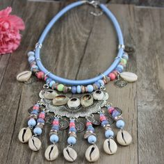 New Arrived Fashion Jewelry Silver Coin Shell Rainbow Beads Pendant Bib Necklace #Handmade #Statement