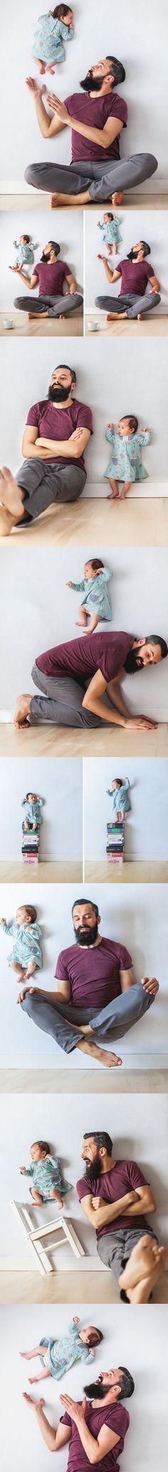 A mãe capturou as imagens colocando a bebê  no colchão com seu pai e adereços adoráveis. A mãe tirou as fotos de cima com algumas pausas quando precisava de um cochilo.