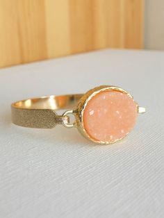 Sparkling Peach Druzy Bracelet <3 #cuff #bangle